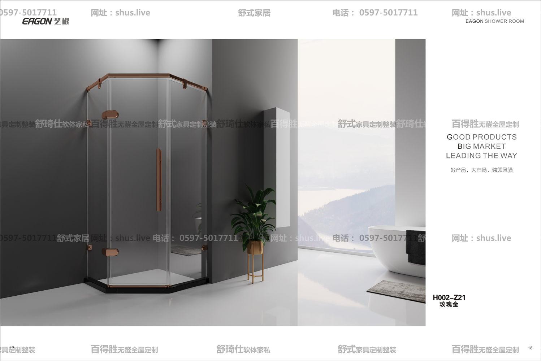 钻石形淋浴房-艺根-双层胶玻璃