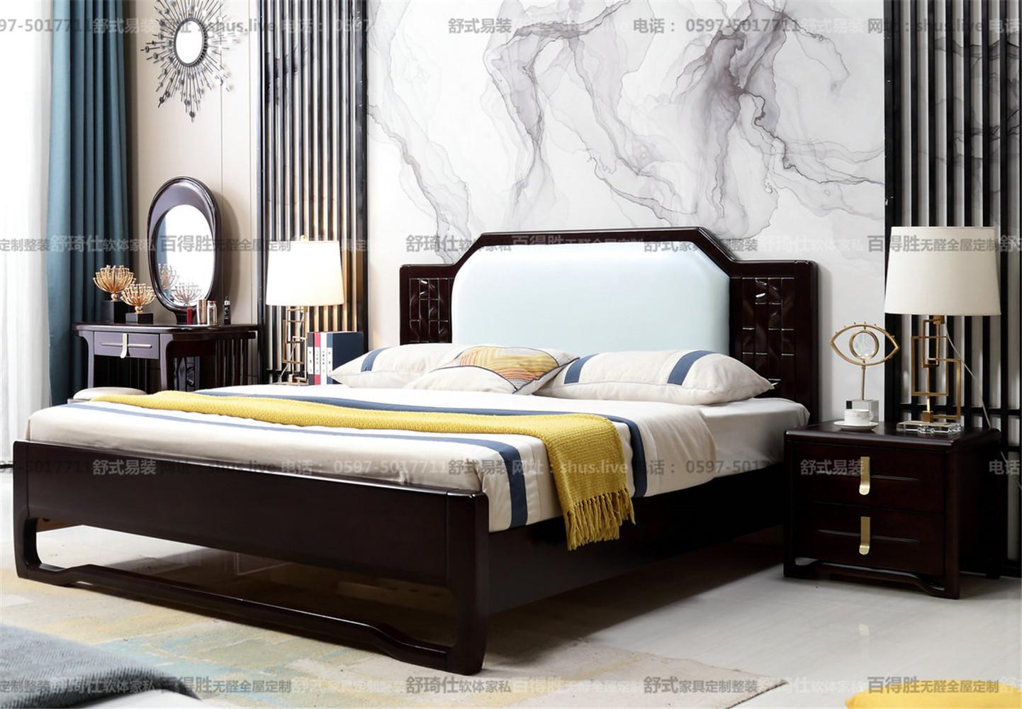 新中式轻奢-床铺/床头柜/梳妆台/梳妆凳/床尾凳/衣柜/沙发/餐桌/餐椅/茶几/电视柜/斗柜/鞋柜-名图
